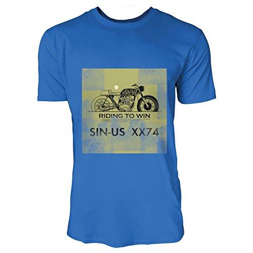 SINUS ART® Riding To Win Herren T-Shirts in Blau Fun Shirt mit tollen Aufdruck