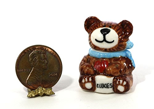 Dollhouse Miniature Brown & White Ceramic Teddy Bear Cookie Jar from Unknown