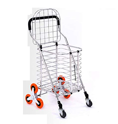 Portable Trolley, Metal Cart Shopping Trolley 3 Wheels Shopping Cart Large Shopping Bags Luggage Carts Can Climb Stairs Huge Capacity Metal Cover Baby Carriage Mobile Shopping Cart Baby Carriage by Zehaer (Image #7)