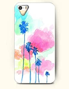 Phone Case For iPhone 5 5S Blue Plam Trees - Hard Back Plastic Case / Oil Painting / SevenArc Authentic