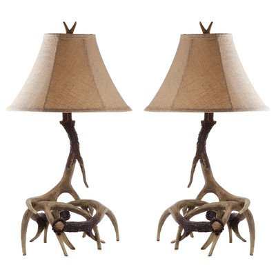 Safavieh Lighting Collection Sundance Antler Table Lamp, Set of 2, Brown - Faux Antler Table