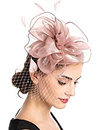 75b01160089 Fascinators Hat Sinamay Flower Mesh Feathers on a Headband and a Clip Tea  Party Headwear for
