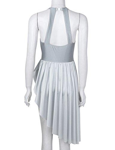 Latine Robe de Robe Danse sans Mariage iiniim Robe t Classique de Tutu Femme Pliss Yoga de Manches Costume XXL S Danse Ballet Soire Asymtrique Justaucorps Gris Fte de aqEXn7wBX