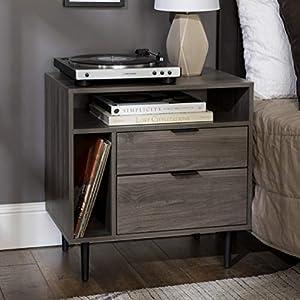 Walker Edison Lincoln Modern Storage Nightstand, 25 Inch, Slate Grey