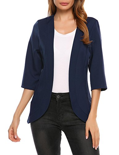 Elever Women's Collareless 3/4 Sleeve Open Front Slim Casual Blazer