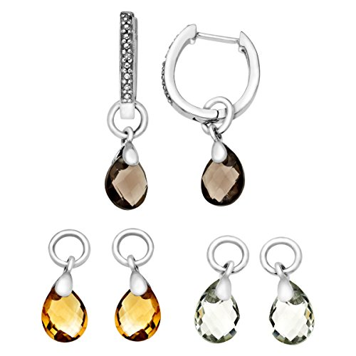 Interchangeable Multi-Stone Hoop Earrings with Diamonds in Sterling (Quartz Sterling Silver Hoop)