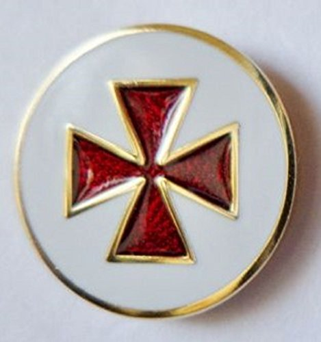 1000 Flags Limited Knights Templar Cross Pattée Round Masonic Enamel and Metal Pin Badge