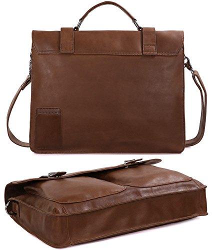DRF Leather Business Messenger Bag Satchel Briefcase for Men Laptop Office Bag BG-263 (Brown) by DRF (Image #2)