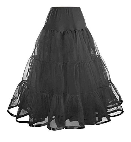 Facent Femmes Jupon Femme sous Robe Longue  Cheville Petticoat en Tulle Longueur 100cm Noir