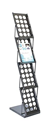 Polmart 361E Brochure Magazine Catalog Literature Display Holder Rack Floor Pop up Folding Stand, Portable Metal Black 4 Pockets for Trade Show, Office and Retail - Pocket Literature Floor Display