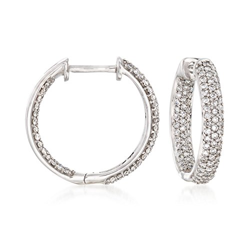 Ross-Simons 0.50 ct. t.w. Pave Diamond Inside-Outside Hoop Earrings in 14kt White Gold ()