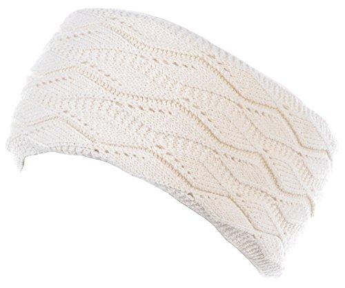 (Womens Fall Winter Cozy Fleece Lined Crochet Cable Knitted Headband Headwrap (Leafy)