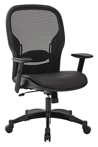 SPACE Seating Breathable Mesh Black Back and Padded Eco Leather Seat,  2-to-1 Synchro Tilt Control, Adjustable Arms and Lumbar Support with Gunmetal Finish Base Managers Chair ()
