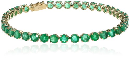 14k Yellow Gold Round Genuine Emerald Tennis Bracelet, 8