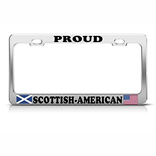Scottish American Flags Heavy Duty Metal License Plate Frame TAG Border Perfect for Men Women Car garadge Decor ()