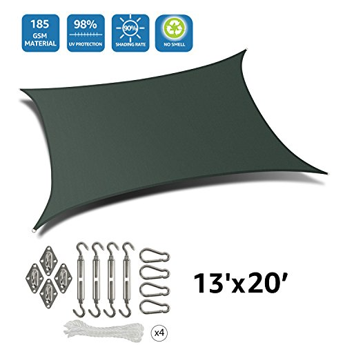 DOEWORKS Rectangle 13' X 20' Sun Shade Sail with Stainless Steel Hardware Kit, Idea for Outdoor Patio, Green by DOEWORKS