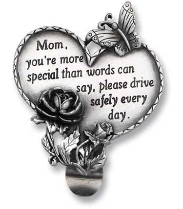 HEART Shaped VISOR Clip for Special MOM - Mother - CAR Automobile -
