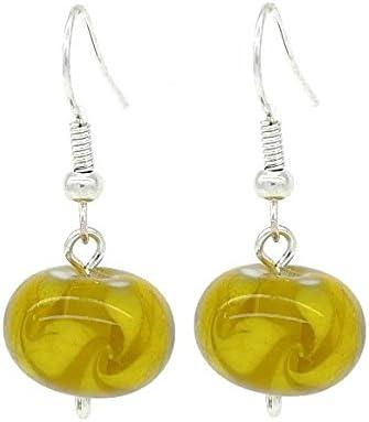Amarillo y blanco de cristal de Murano cuentas pendientes de gota