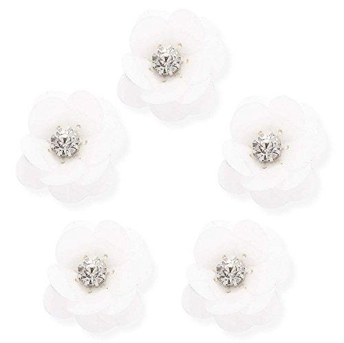 10Pcs Rhinestones Flower Patches, Premium Sewing On Rhinestone Appliques Beads Patch DIY for Wedding Dresses, Shoes, Bags, Headband, Headpiece, Clothes, Garment Accessories (White)