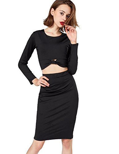 M.ASSOLATO Women's Sexy Long Sleeve Crop Top Midi Skirt Two Piece Knot-Front Dress Set Size S