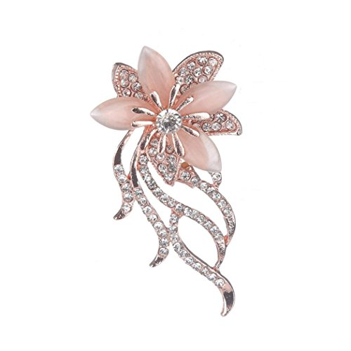 Ribbon Gold Brooch (Botrong Lady Flowers Suits Fittings Crystal Rhinestone Retro Bronze Brooch)