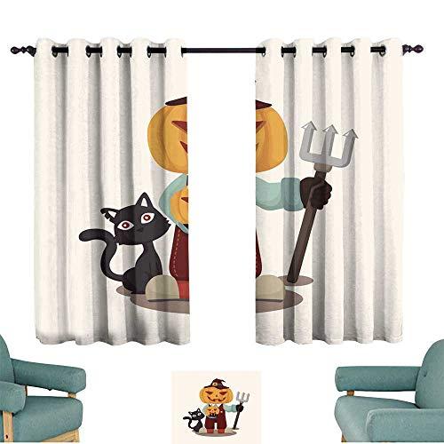 Warm Family Novel Curtains Halloween Party Costume Theme Elements 70%-80% Light Shading, 2 Panels,]()