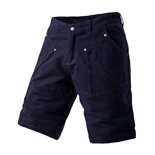 LOG SWIT Summer Mens Cargo Shorts Male Casual Loose Work Shorts Men Knee Length Multi-Pocket Cargo Shorts Navy 32
