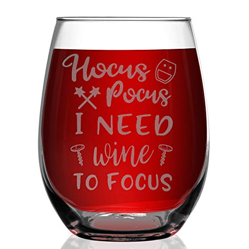 Shop4Ever Hocus Pocus I Need Wine To Focus Laser Engraved Stemless Wine Glass ~ Funny Witch Halloween Gift for Mom Wife Sister Best Friend Boss Daughter Girlfriend (Stemless, 15 oz.)