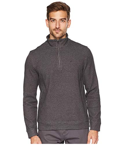 Mens Sweater Gunmetal (Calvin Klein Men's Classic Quarter Zip Sweater, Gunmetal Heather, Large)