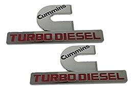 X2 Chrome Cummins 12V 24V 4BT 6BT Turbo Diesel Emblem Replaces OEM Mopar 68149701AA, 68149701AB Left OR Right Side