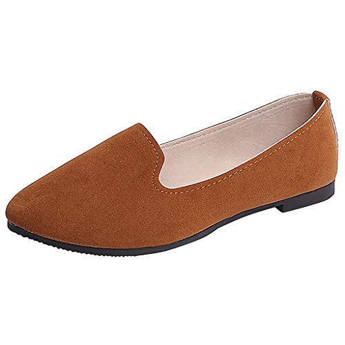 ONLY TOP Women's Classic Flats Memory Foam Cushioned Soft Daily Slip-on Casual Sneaker Flat Shoes Brown