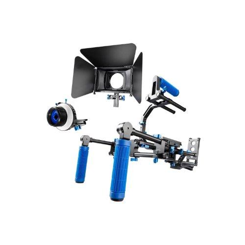 SunSmart Pro DSLR camera video Rig Shoulder Mount Kit including DSLR Rig shoulder mount support, Follow Focus and Matte Box for All DSLR Video Cameras and DV Camcorders by SunSmart