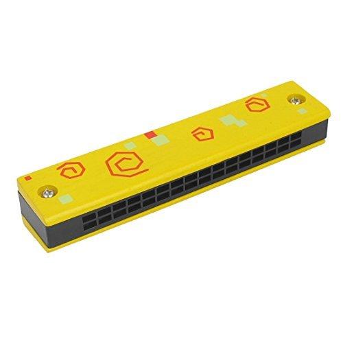 DealMux Kids Dual Row 32 Holes Harmonica Mouth Organ Muscial Instrument Yellow