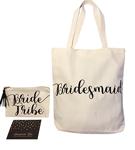 Bridal Party Bridesmaid Gift Tote Bag with Bride Tribe Makeup Bag and Blank Notecard | 3 Item Set ()