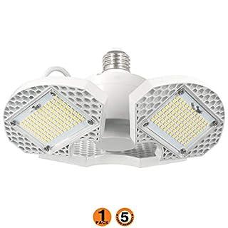 LED Garage Lights, 60W LED Garage Ceiling Lights 7500LM Garage Lighting,LED Shop Light , Deformable LED Shop Lights for Garage, Warehouse, Corridor, Support E26 Screw Socket (No Motion Detection)W 1pk