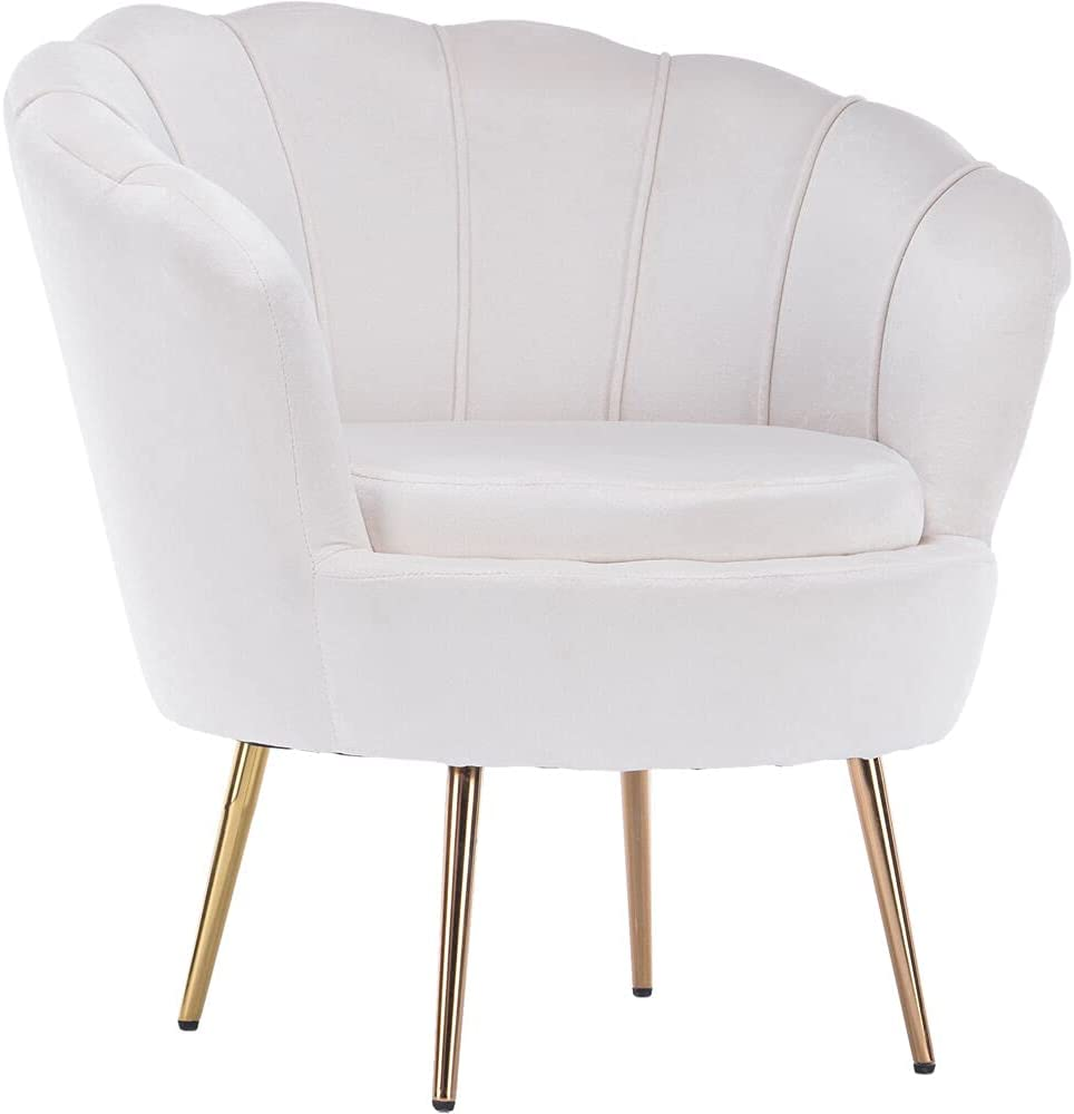 CRITTER SITTERS White 30 Faux Velvet Circular Tufted Accent Chair with Gold Legs, 30.000