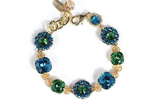 Clara Beau Exquisite Antique Swarovski Crystal Bracelet in Indi, Fern and Zircon BF97 G -
