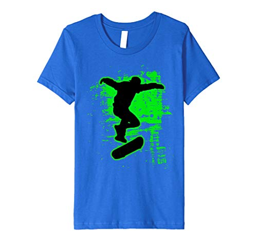 Kids Green Splatter Awesome Skateboarding Shirt Skater Tee 6 Royal Blue