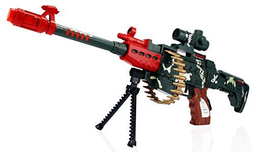 Military Machine Blaster Children Kid's Pretend Play Battery Operated Toy Gun Rifle w/ Lights, Sounds, Bipod, Shoulder Strap (Colors May (Military Toy Guns)