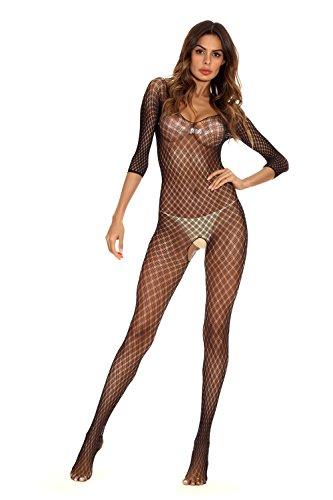 Nodykka Sexy Bodystockings V Babydoll Open Crotch Sleeves Sleepwear Tights Exotic Chemise Stretch Lingerie Black For Women Black