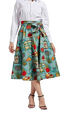BI.TENCON Women's High Waist Sash Tie A Line Vintage Midi Skirt with Pockets