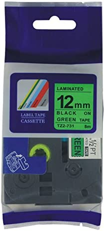 4 Pack Black on Green 12 mm Label Tape For Brother TZ 731 Tze 731 PT1100 P-Touch
