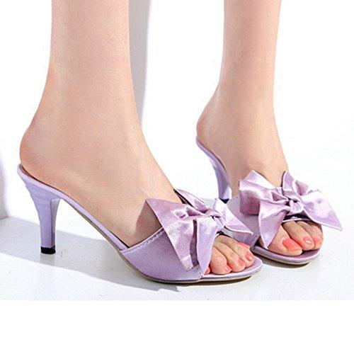 TAOFFEN Mujer Moda sin Cordones Zapatos Bowknot Talon Abierto Tacon Alto Sandalias 938 Purpura
