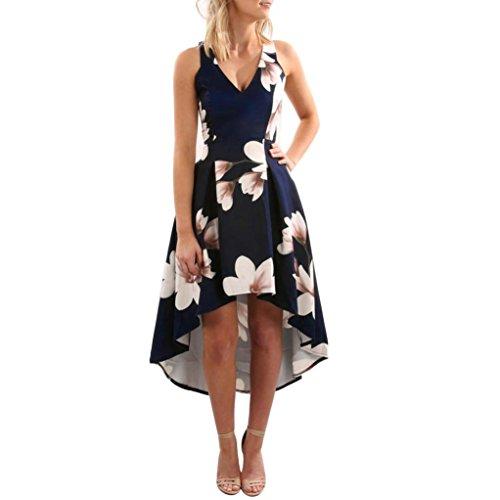 Sleeveless Blue Dress Kolylong Print Flower Maxi Beach Womens 6 Lady Long Summer Sundrss Blue Dress Boho UK 8 0g0pnAaW