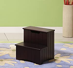 Amazon.com: Kings Brand Dark Cherry Finish Wood Bedroom Step Stool ...