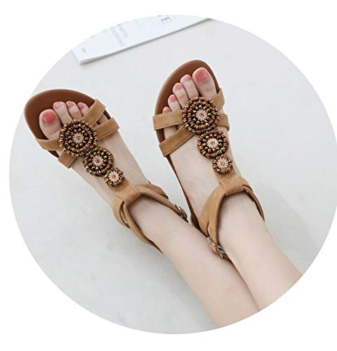 (colorful-space 2019 Women Wedge Retro Boho Bohemia Sandals Shoes Woman Casual Peep Toe Ethnic Crystal String Bead Buckle Sandals 35-42,Brown,9)