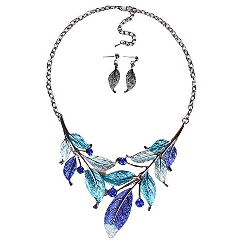 Coohole New Fashion Women Gold Plated Crystal Enamel Flower Pendant Necklace Earrings Jewelry Set (Blue) (White Gold Assorted Link Chain)