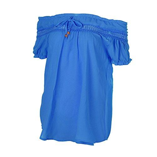 Femme Bandage Bateau Col Loose Manche T Bleu Shirt Chemisier Dnuds laamei Epaules Courte Blouse Elastique Ethnique RW6d7q