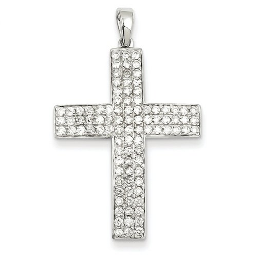 Icecarats Créatrice De Bijoux 14K Diamant Or Blanc Latin Pendentif Croix