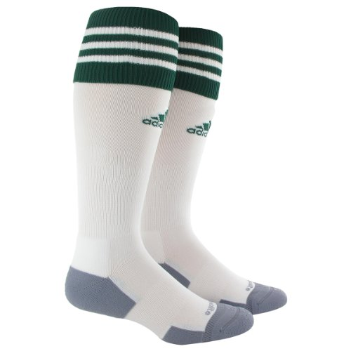 adidas Copa Zone Cushion II Soccer Socks (1-Pack), White/Forest, Large